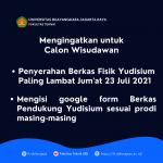 Batas Penyerahan Berkas Fisik Yudisium Paling Lambat Jum'at, 23 Juli 2021